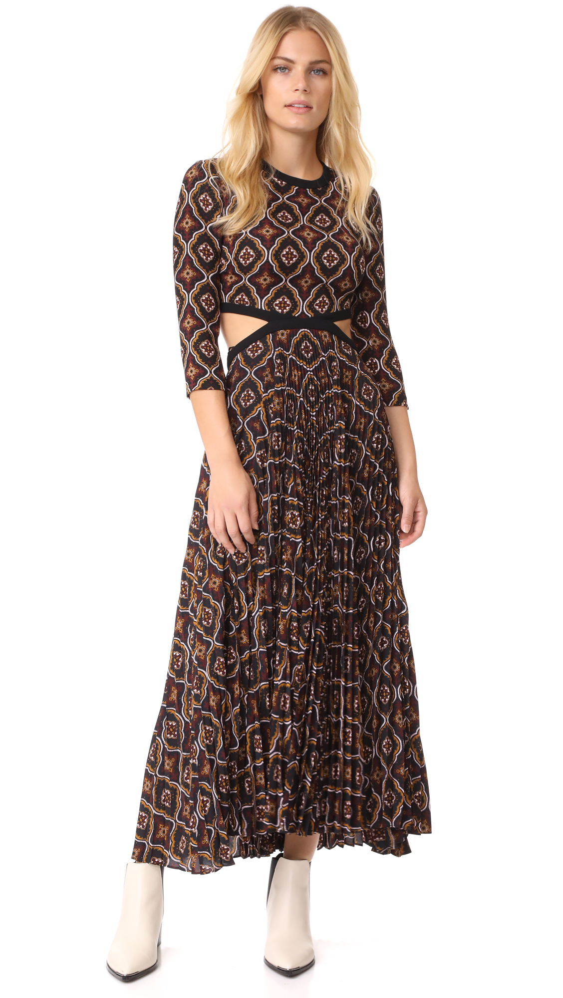 A.L.C. Holly Dress - Burgundy/Gold Multi