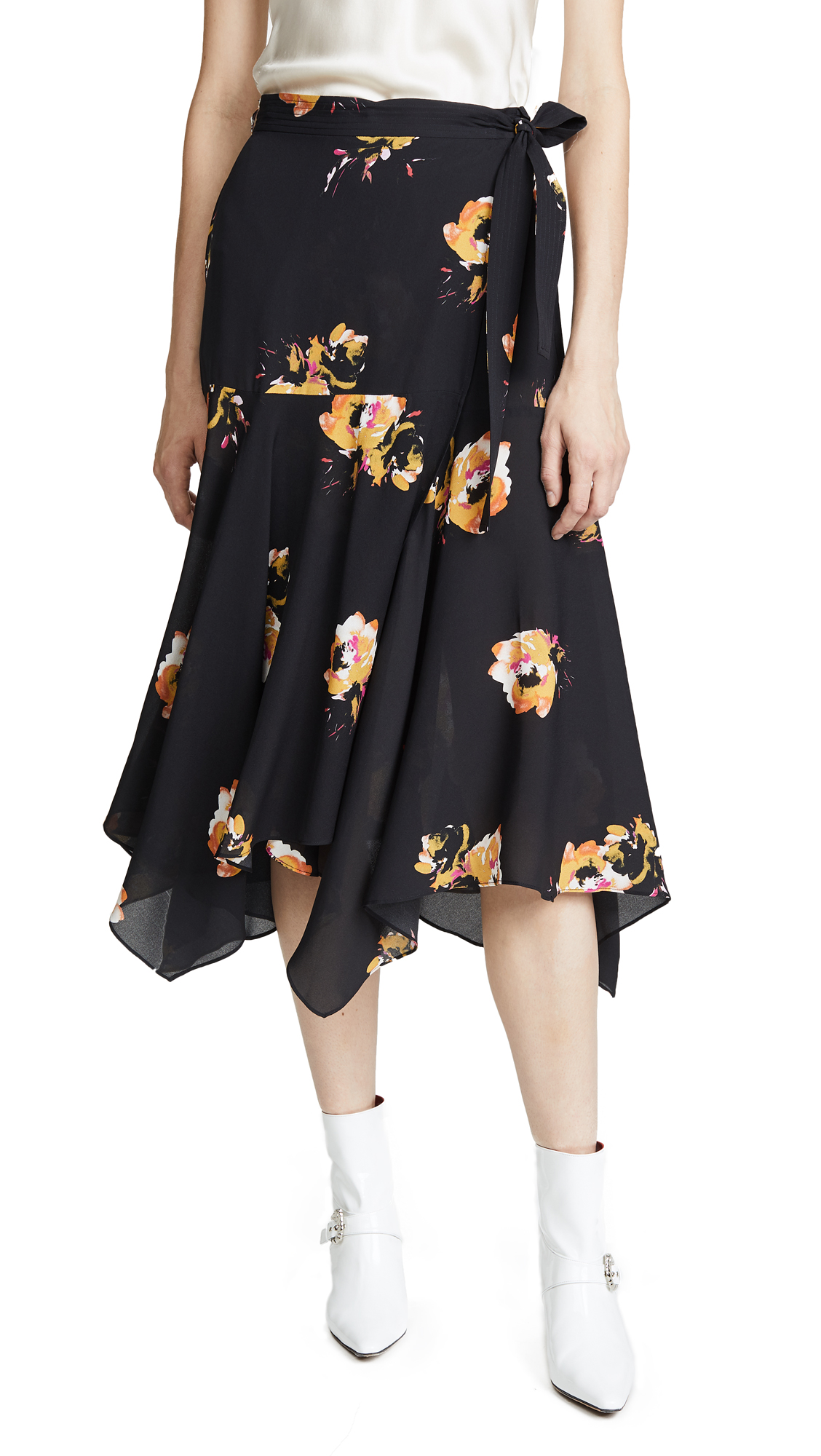 A.L.C. Borden Skirt In Black/Saffron