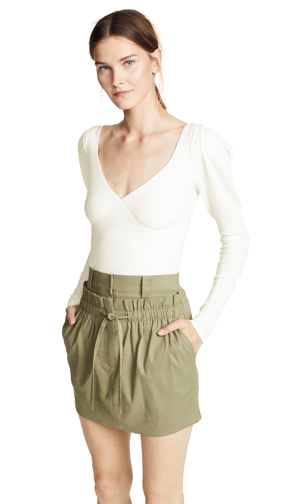 Denise Cream Ribbed Jersey Top, Ivory