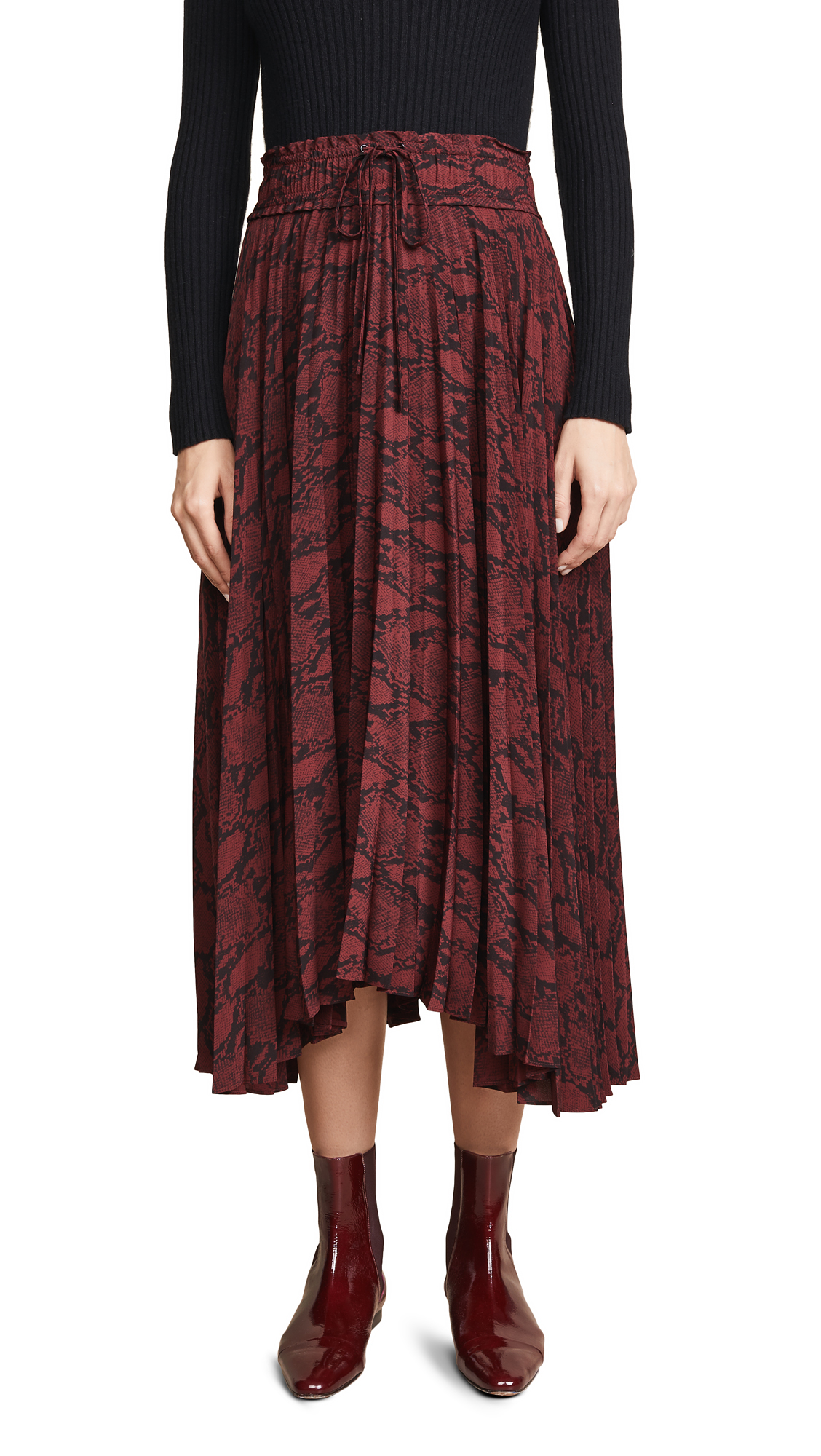 Maya Snake-Print Silk Midi-Skirt - Red Size 6