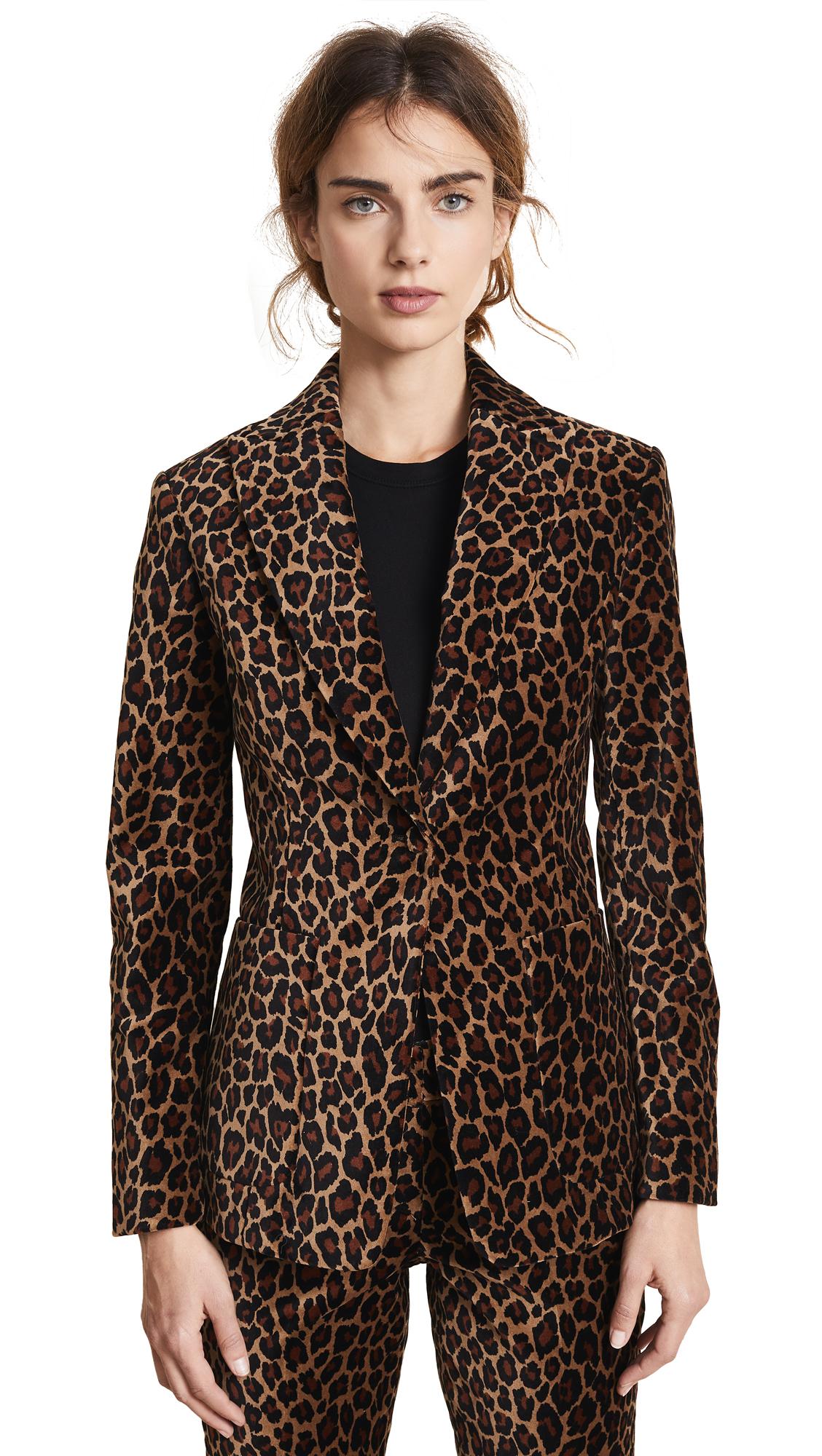 Mercer Leopard-Print Velvet Blazer Size 12 in Natural