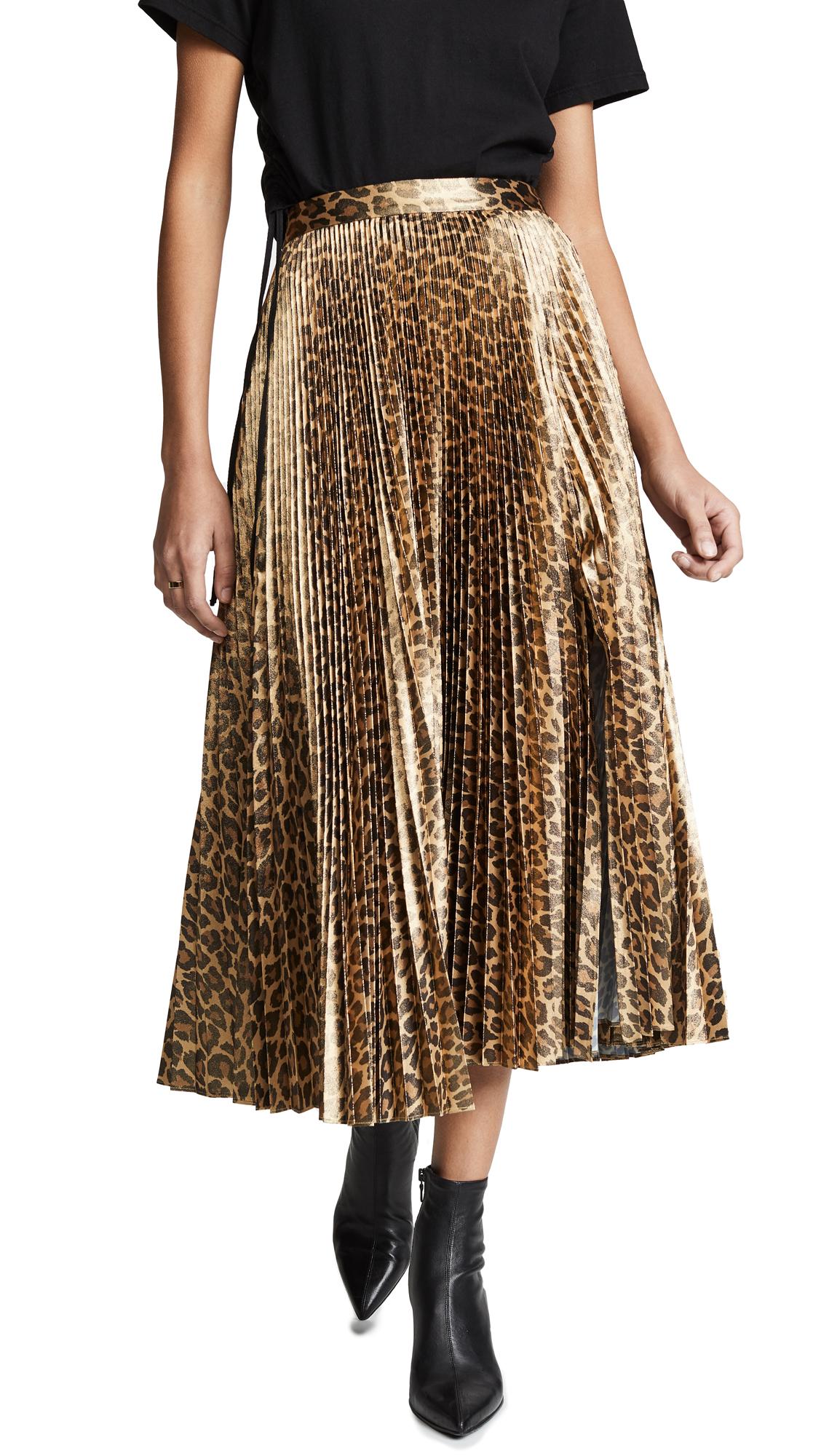Bobby Leopard-Print Pleated Midi Skirt in Metallic Gold