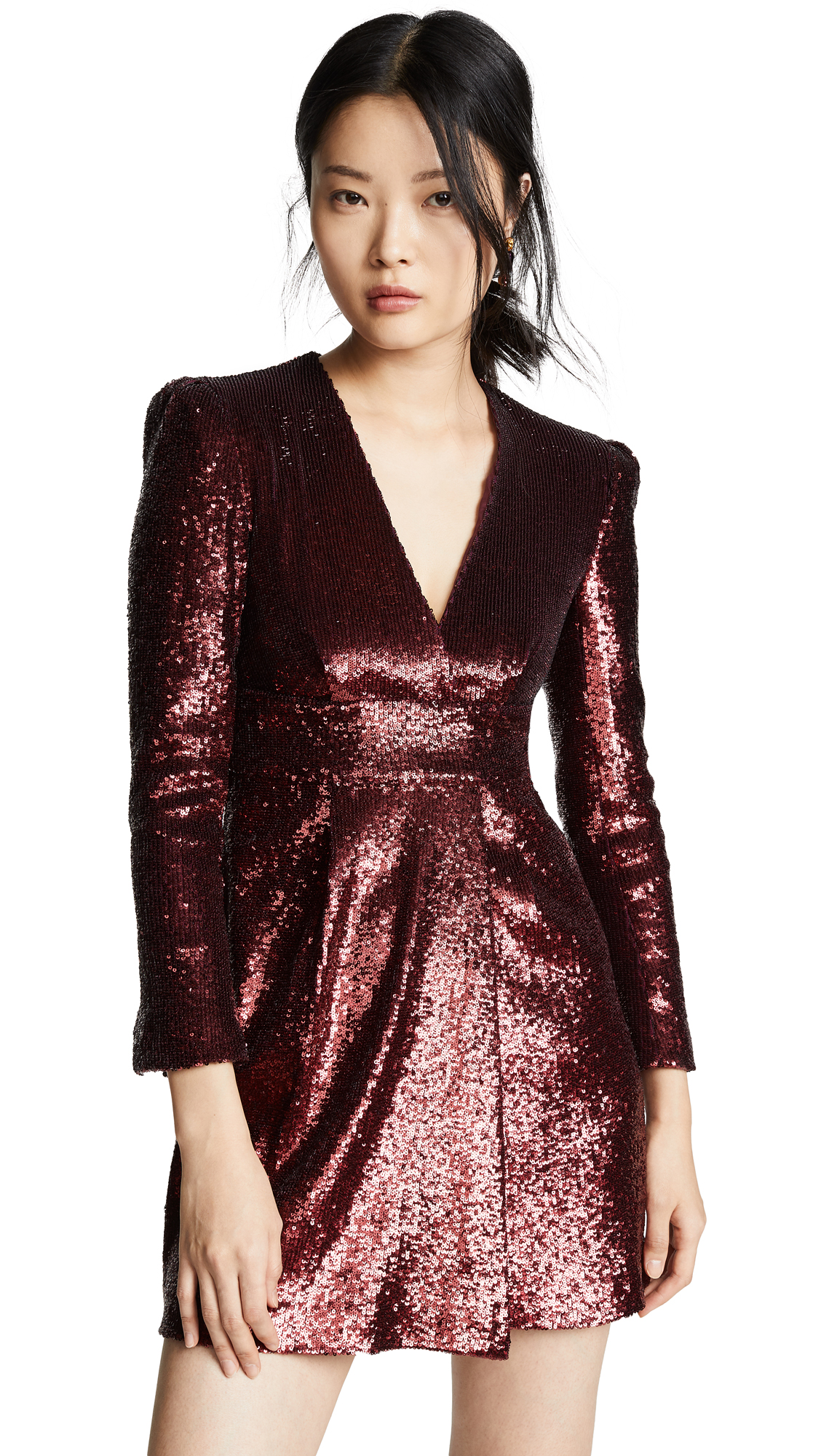 Mara Sequined Fitted Dress - Wine Size 0 in Bordeaux