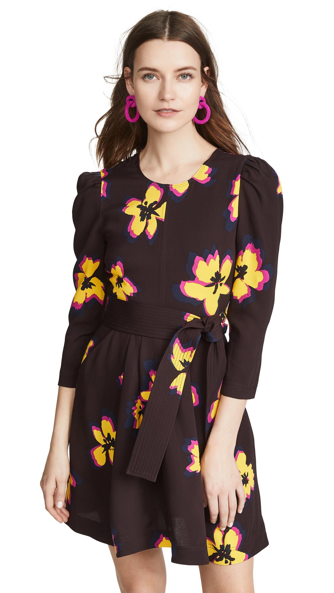 A.L.C. Stella Dress - Chocolate/Yellow Flower