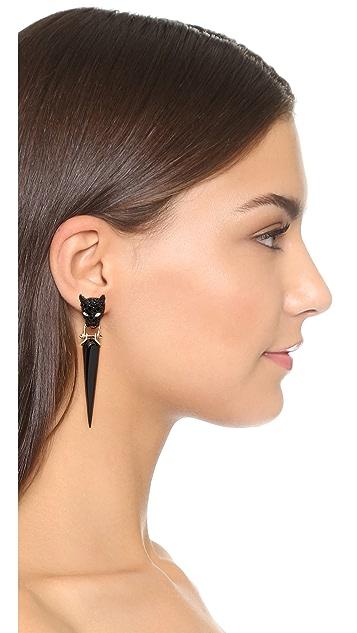 Alexis Bittar Crystal Encrusted Dangling Panther Earrings