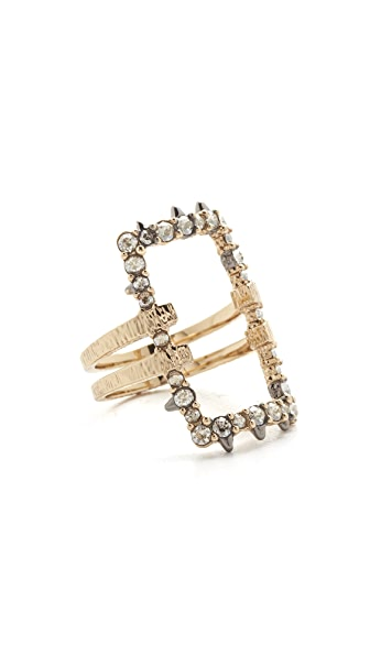 Alexis Bittar Crystal Encrusted Oversize Link Ring - Gold/Clear