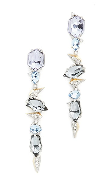 Alexis Bittar Crystal Encrusted Mosaic Lace Dangling Earrings