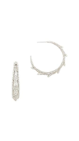 Alexis Bittar Crystal Encrusted Spiked Lattice Hoop Earrings