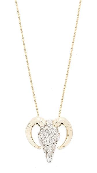Alexis Bittar Crystal Horned Ram Pendant Necklace