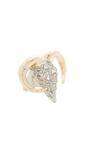 Alexis Bittar Crystal Horned Ram Ring - Silver/Gold/Clear