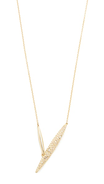 Alexis Bittar Crystal Encrusted Modernist Spear Pendant Necklace