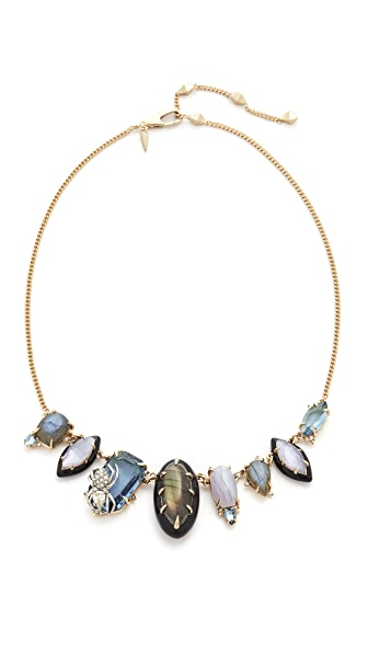 Alexis Bittar Crystal Encrusted Spider Bib Necklace - Gold/Rhodium/Black