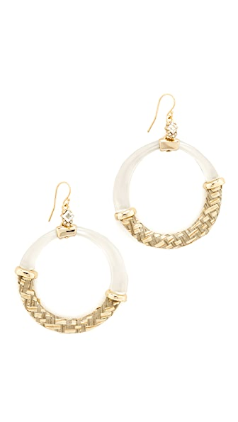 Alexis Bittar Woven Raffia Hoop Earrings - Gold