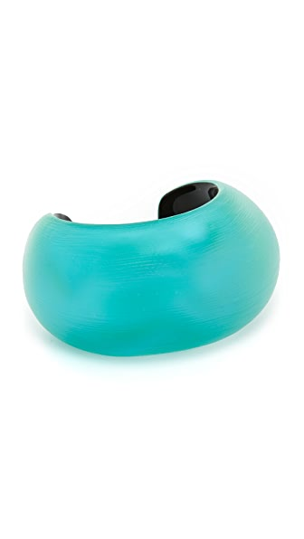 Alexis Bittar Domed Liquid Silk Cuff Bracelet - Turquoise Opalescent Clear
