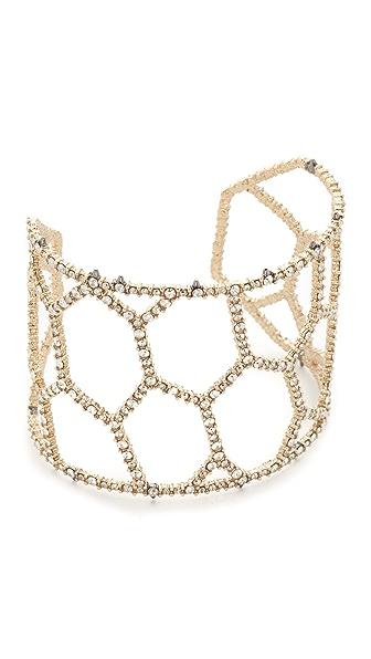 Alexis Bittar Honeycomb Frame Cuff Bracelet - Gold/Ruthenium