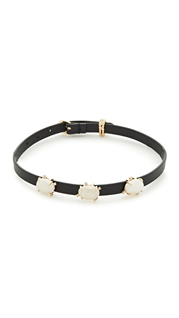 Alexis Bittar Multi Stone Convertible Leather Choker
