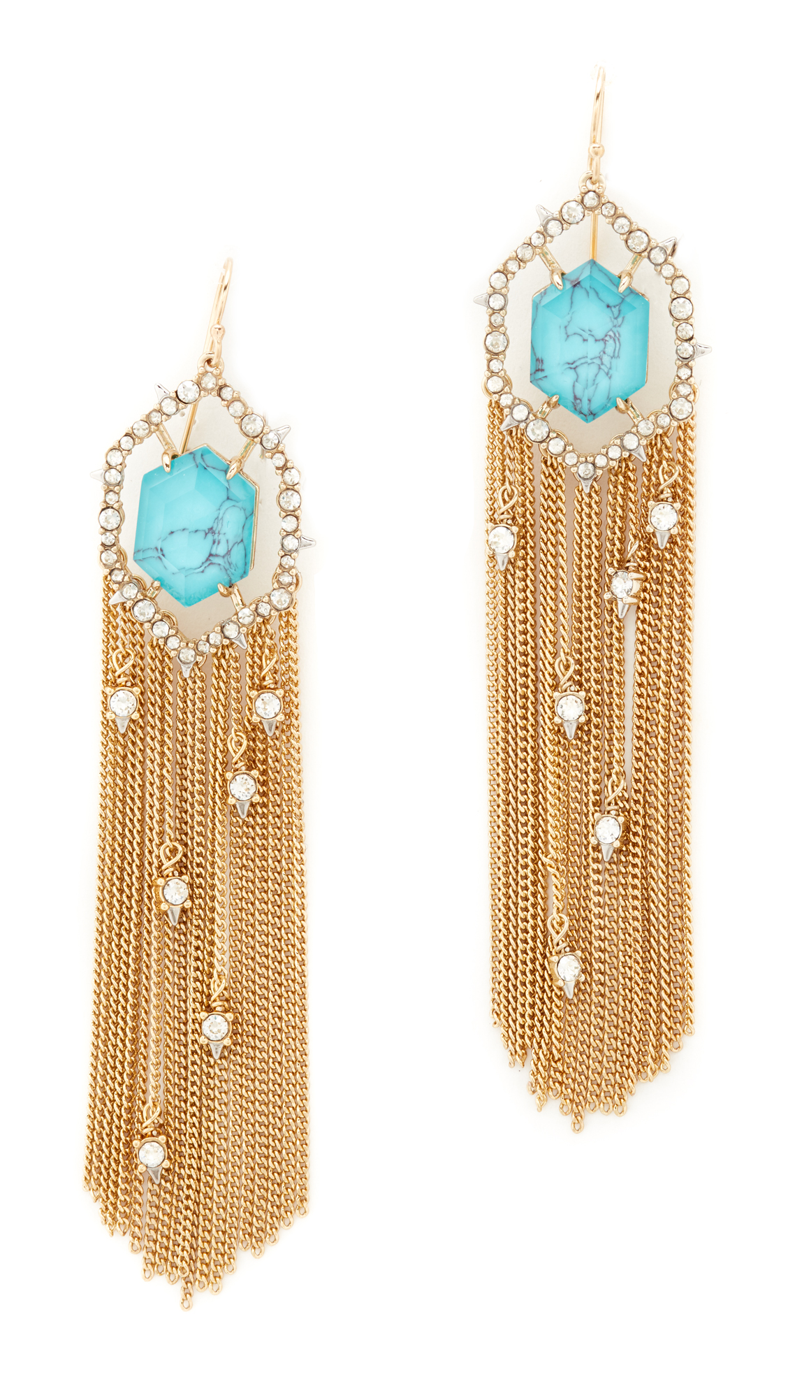 Alexis Bittar Crystal Framed Tassel Earrings - Gold/Rhodium