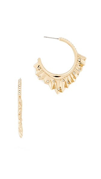 Alexis Bittar Crystal Encrusted Pleated Hoop Earrings In Gold