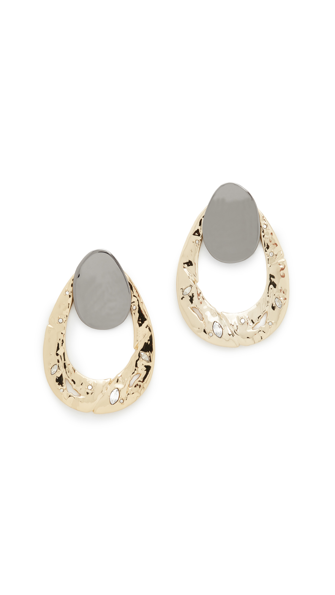 Alexis Bittar Open Hammered Earrings - Gold Multi