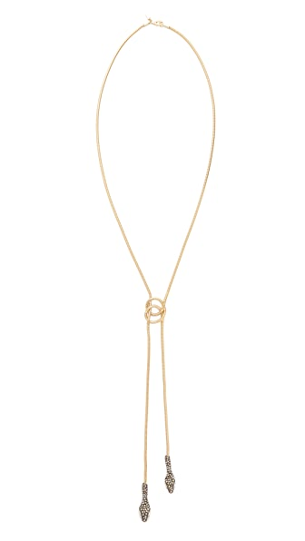 Alexis Bittar Lariat Knot Necklace In Gold