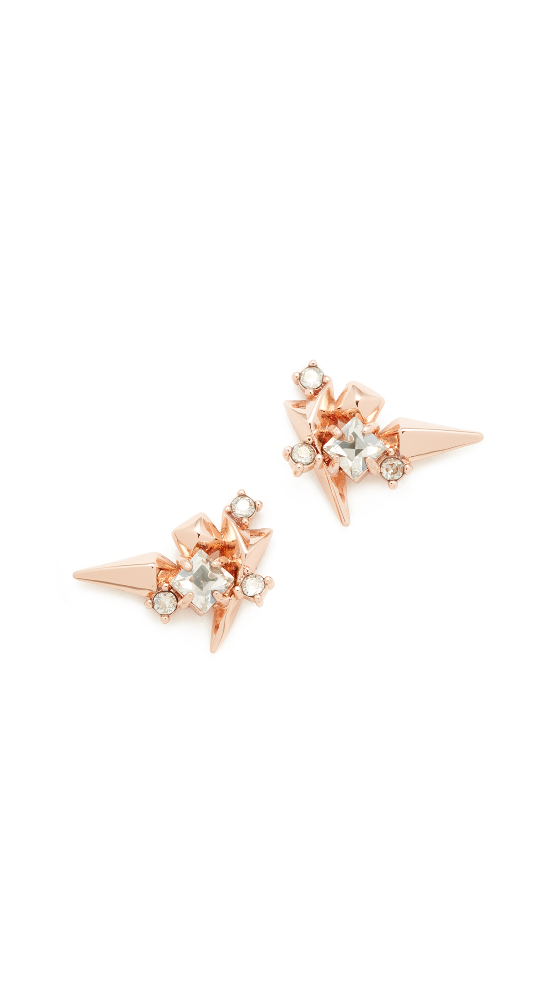 Alexis Bittar Studded Post Earrings - Rose Gold/Clear