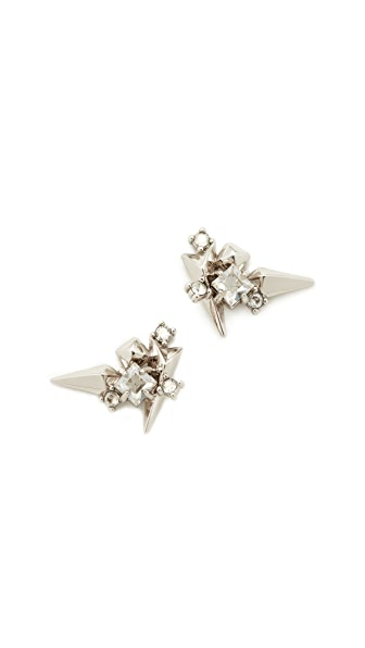 Alexis Bittar Studded Post Earrings In Rhodium/Clear