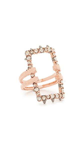 Alexis Bittar Crystal Encrusted Link Ring - Rose Gold/Clear