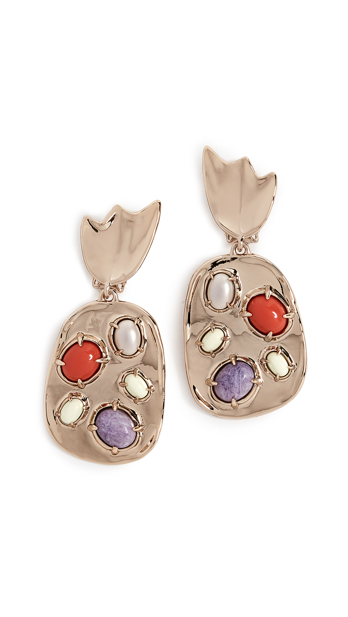 SCULPTURAL STONE CLUSTER CLIP EARRINGS