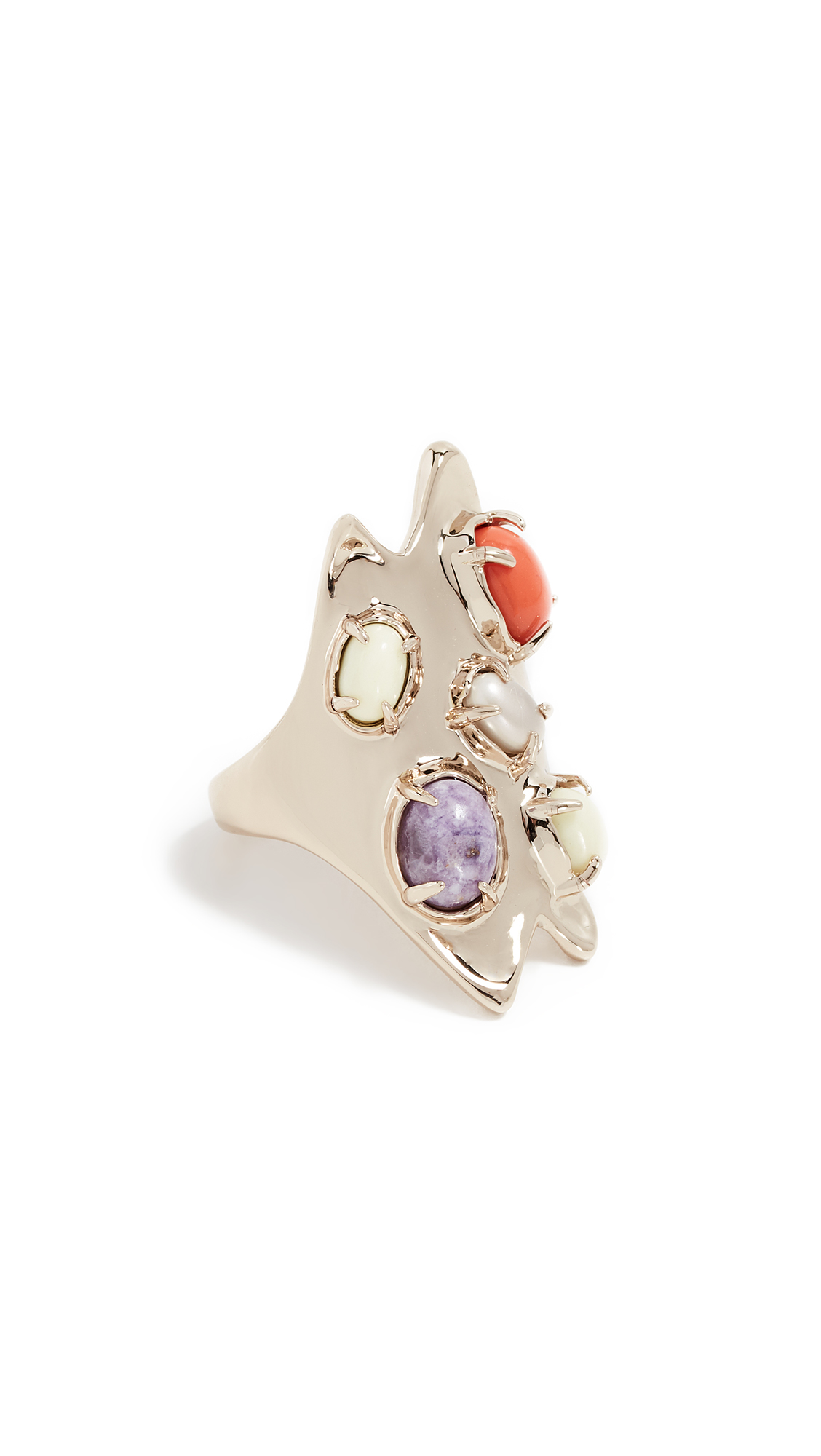 SCULPTURAL GOLD STONE CLUSTER RING
