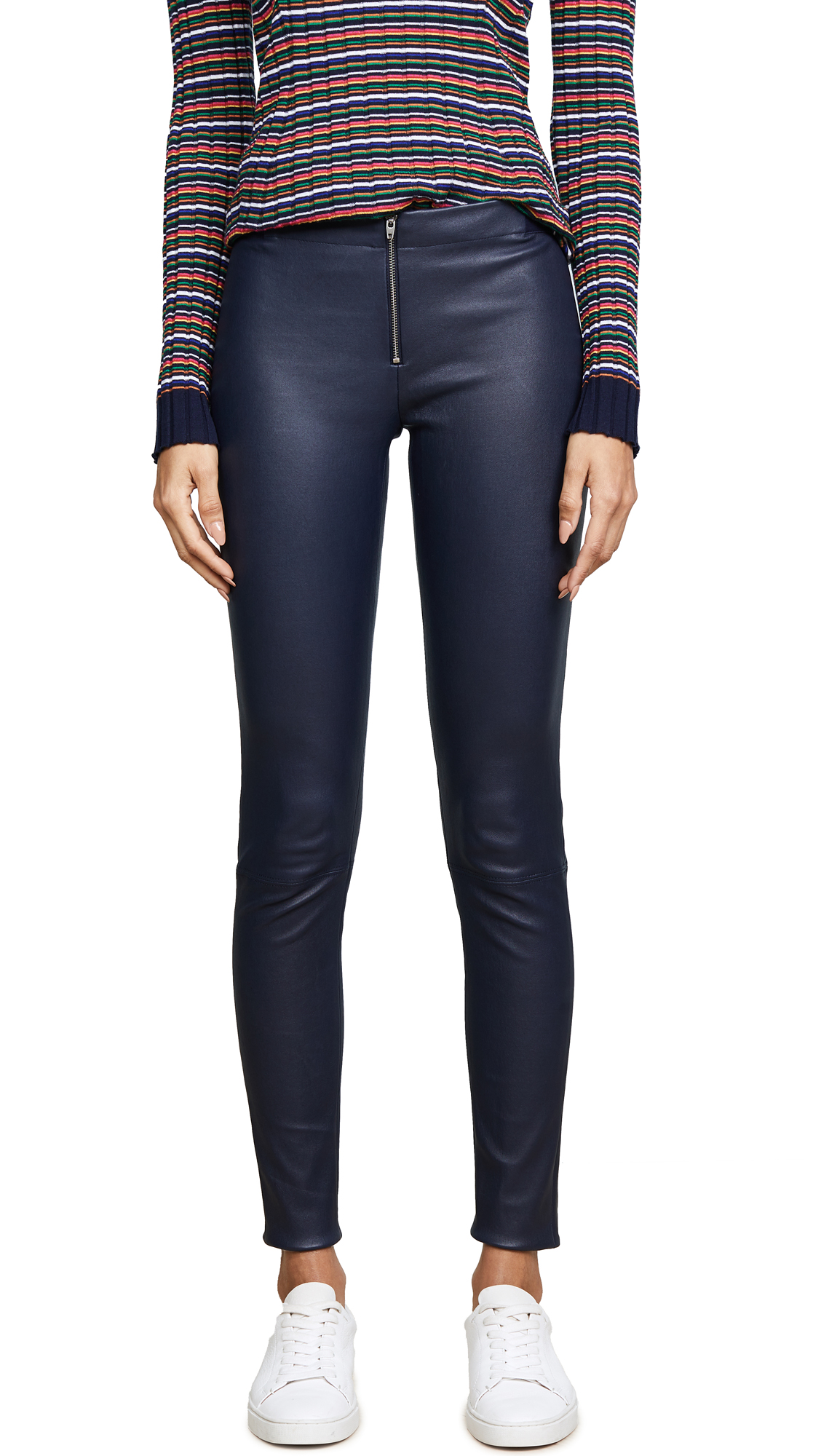 alice + olivia Zip Front Leather Leggings - Navy