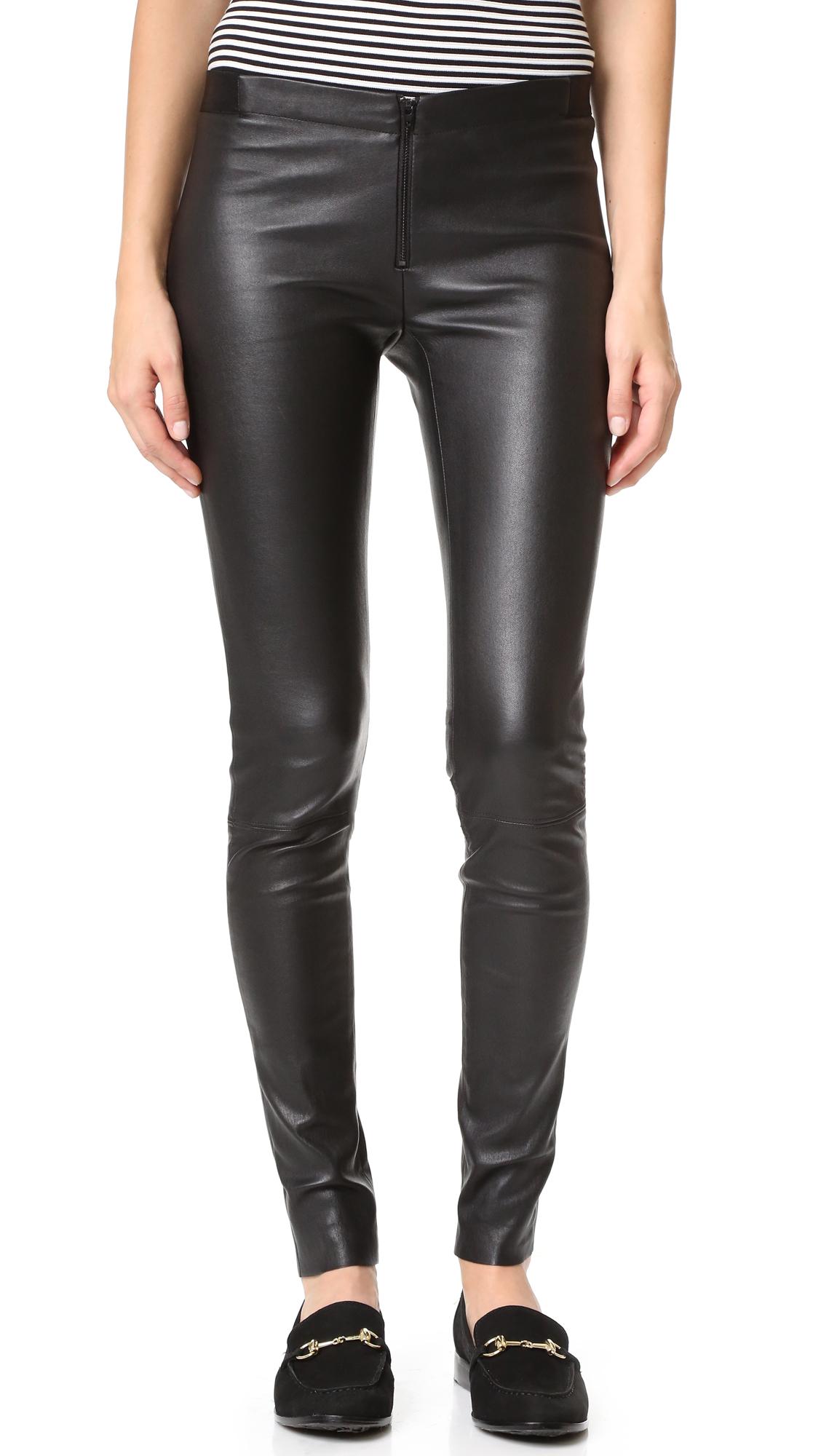 Alice + Olivia Zip Front Leather Leggings - Black at Shopbop