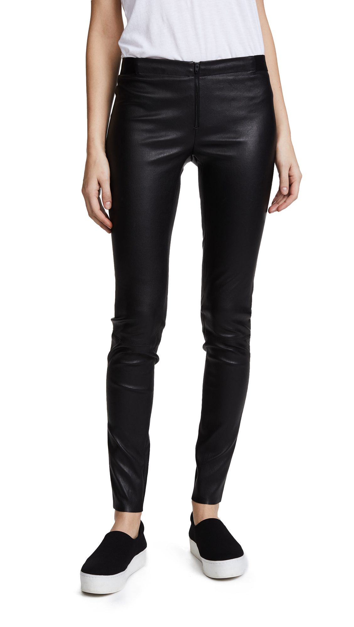 alice + olivia Zip Front Leather Leggings - Black