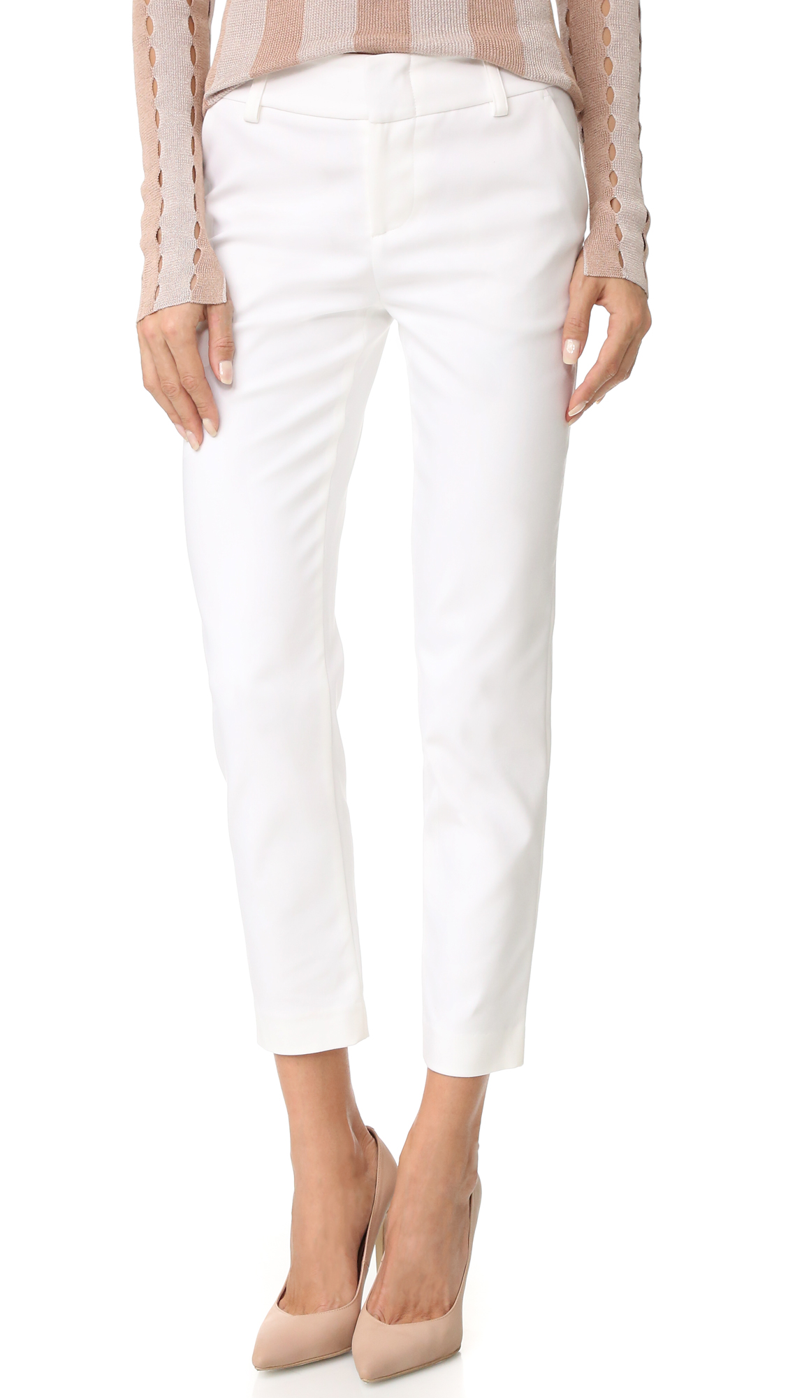 Alice + Olivia Stacey Slim Pants - White at Shopbop