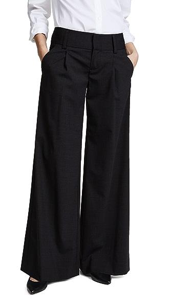 alice + olivia Eric Front Pleat Wide Leg Pants - Charcoal