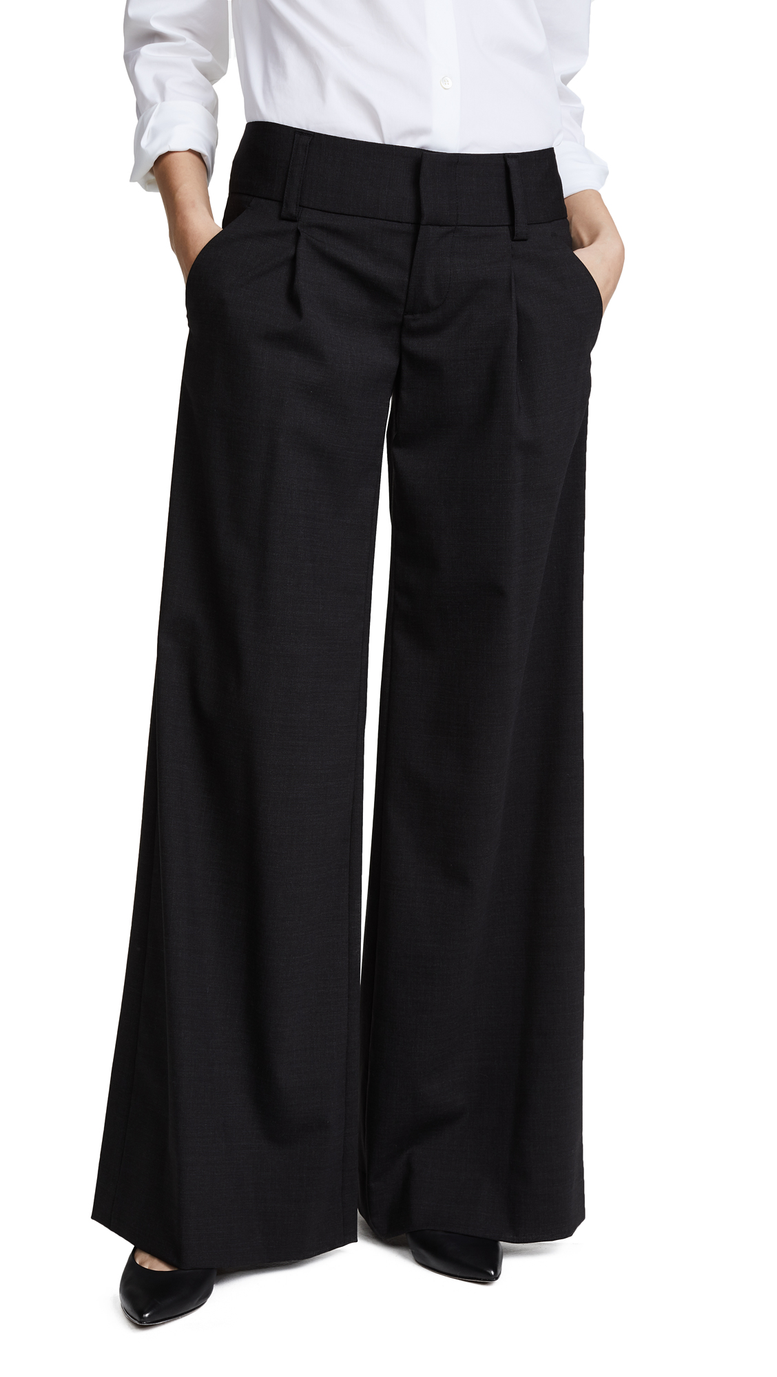 alice + olivia Eric Front Pleat Wide Leg Pants - Charcoal