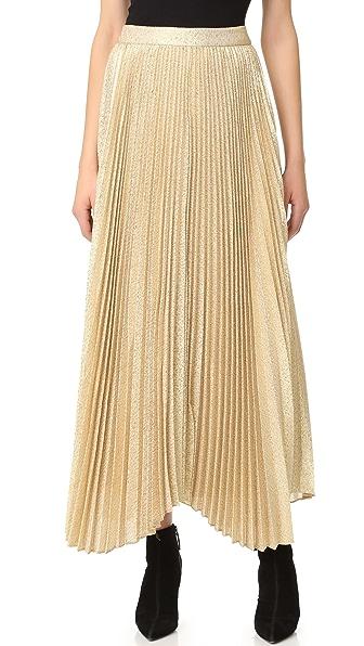 alice + olivia Katz Sunburst Pleated Maxi Skirt - Gold