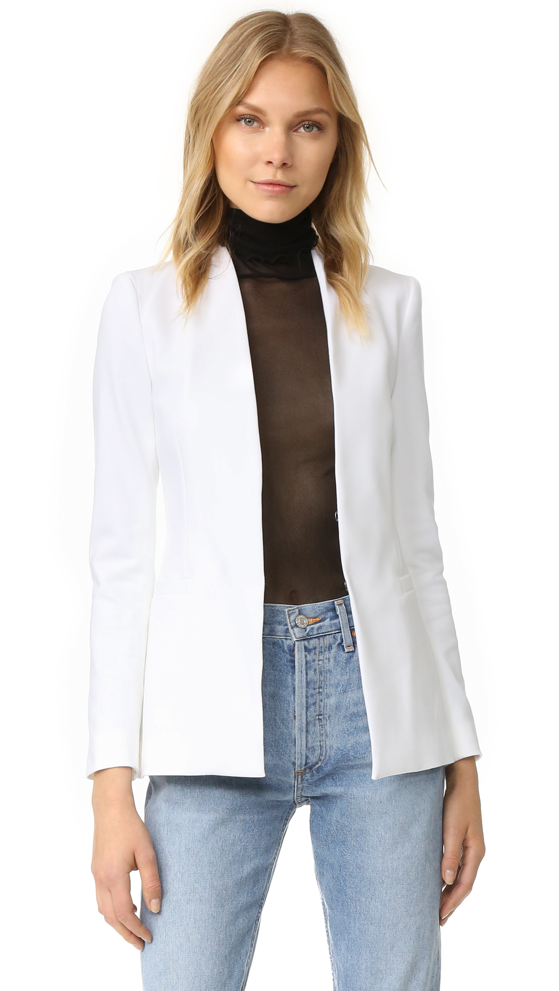 Alice + Olivia Long Open Front Collarless Blazer - White at Shopbop