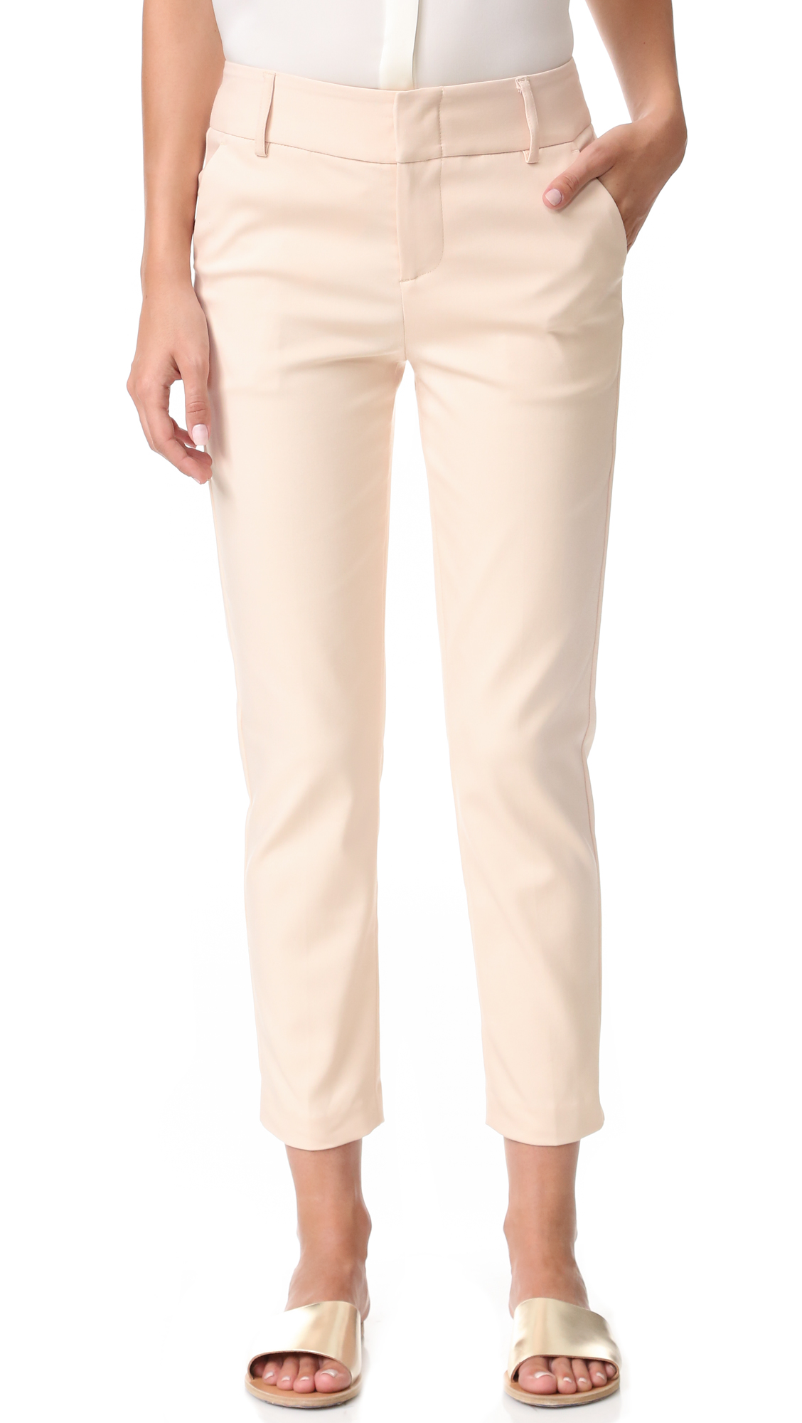 alice + olivia Stacey Slim Trousers - Blush