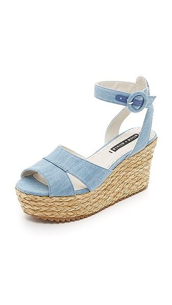Alice + Olivia Roberta Flatform Sandals - Blue Denim