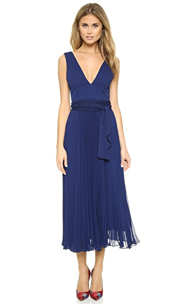 alice + olivia Ryn Deep V Neck Belted Dress