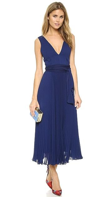 alice + olivia Ryn Deep V Neck Belted Dress