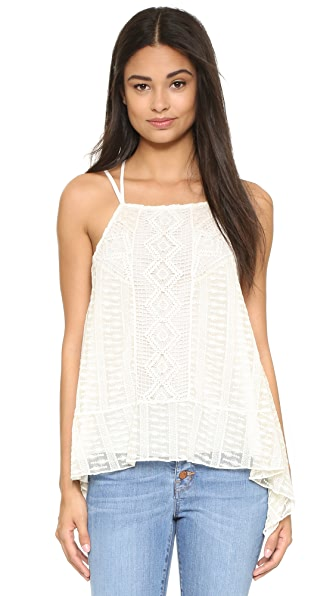 Alice + Olivia Ravenna Embroidered Handkerchief Cami - Cream at Shopbop