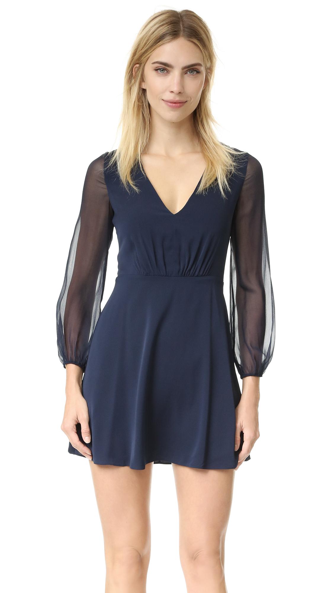 Alice + Olivia Cary Deep V Neck Flare Dress - Navy at Shopbop