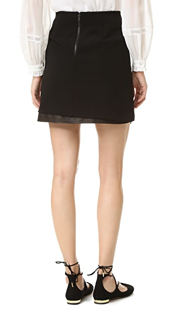 alice + olivia Darcie Leather Combo Miniskirt