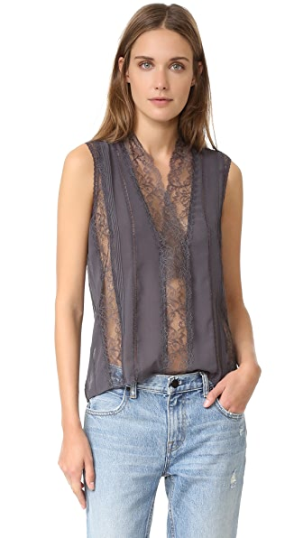 alice + olivia Peta Sheer Lace Sleeveless Top - Charcoal