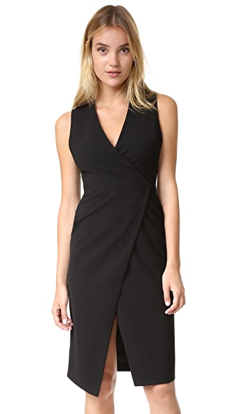 Alice + Olivia Carissa Faux Wrap Dress - Black