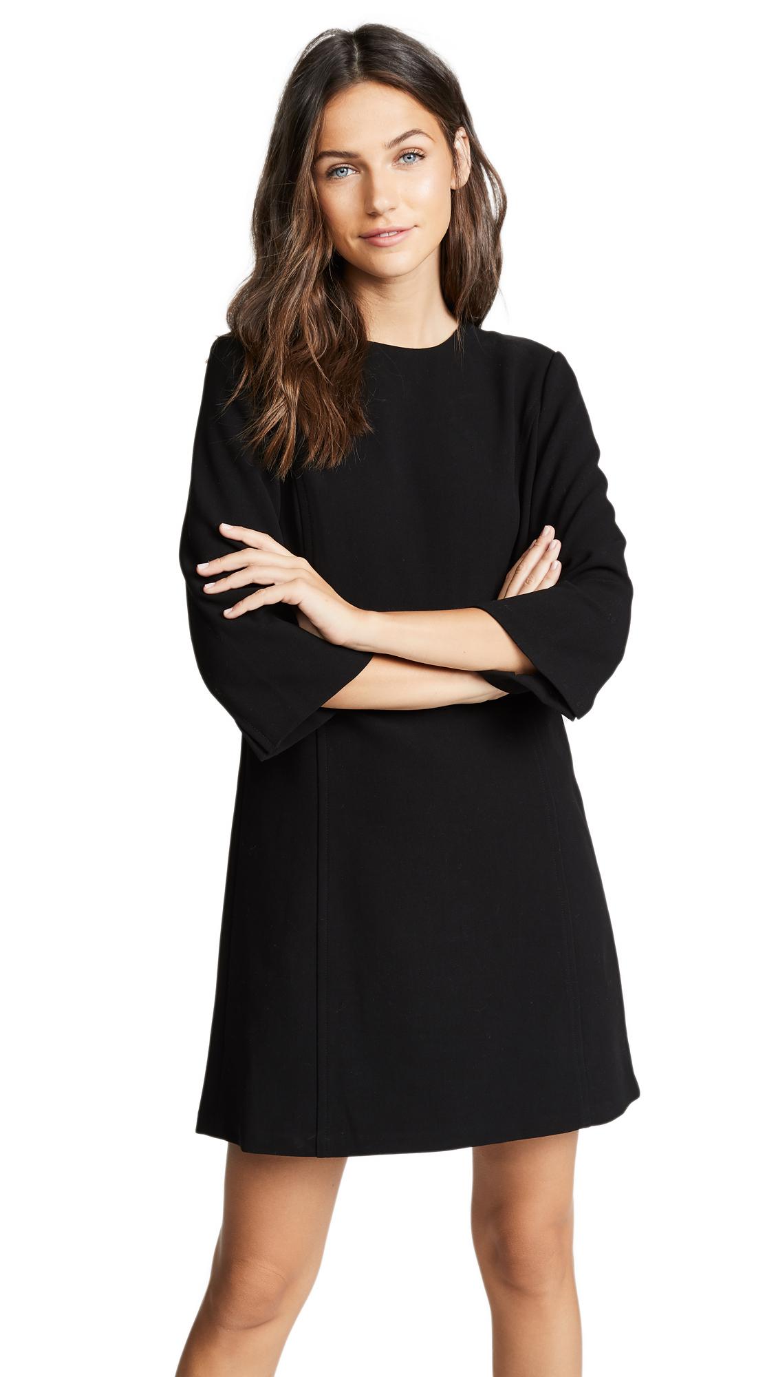 alice + olivia Gem 3/4 Sleeve Shift Dress In Black