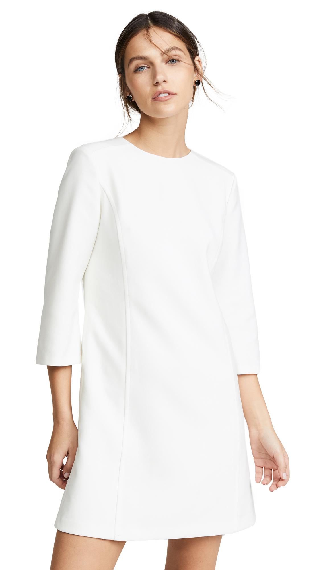 alice + olivia Gem 3/4 Sleeve Shift Dress - Off White