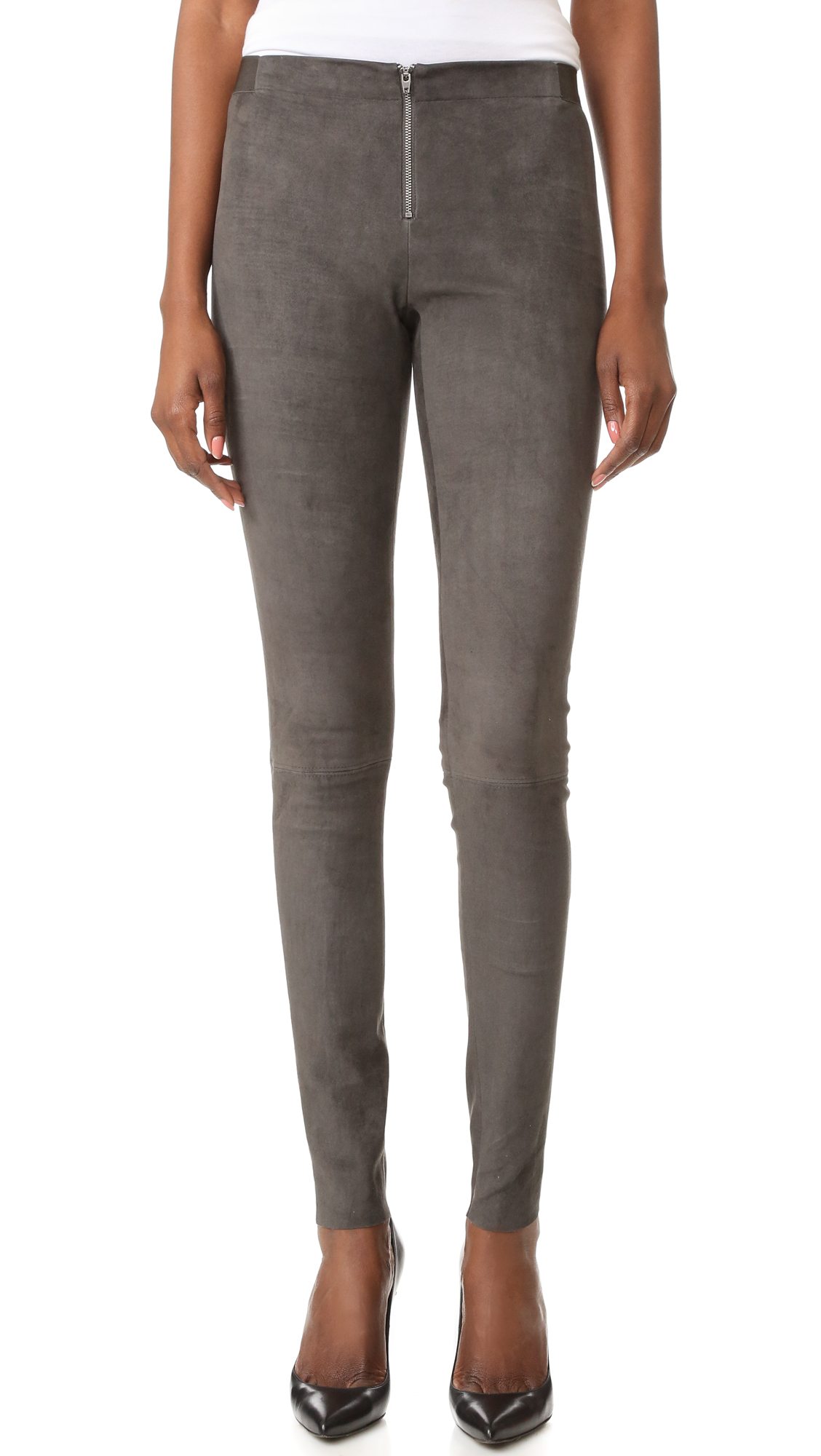 alice + olivia Front Zip Suede Leggings - Charcoal