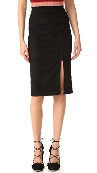 alice + olivia Tani Suede Skirt with Slit - Black